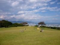 ホテル庭から見た清水港、並んだ石の先に富士山が見えるはず