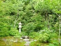 お茶室からの庭、燈籠は吉田茂首相よりいただいたもの